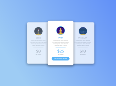 Pricing Tables pricing table branding vector app ui design