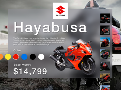 Suzuki Hayabusa Landing Page ecommerce marketing landing page motorcycle hayabusa suzuki branding