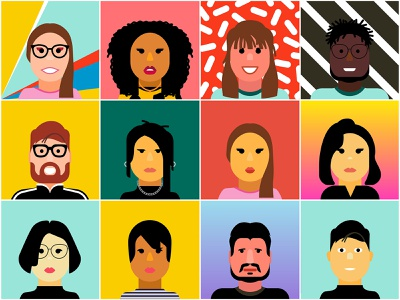 Adobe MAX Avatar Creator faces portrait people advertising lifestyle color vector graphic illustration adobe illustrator adobemax adobe