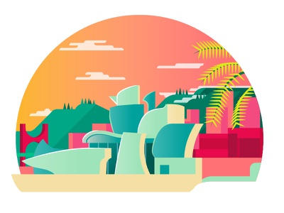 Guggenheim Bilbao summer hot colour illustration architecture frank gehry gallery guggenheim bilbao