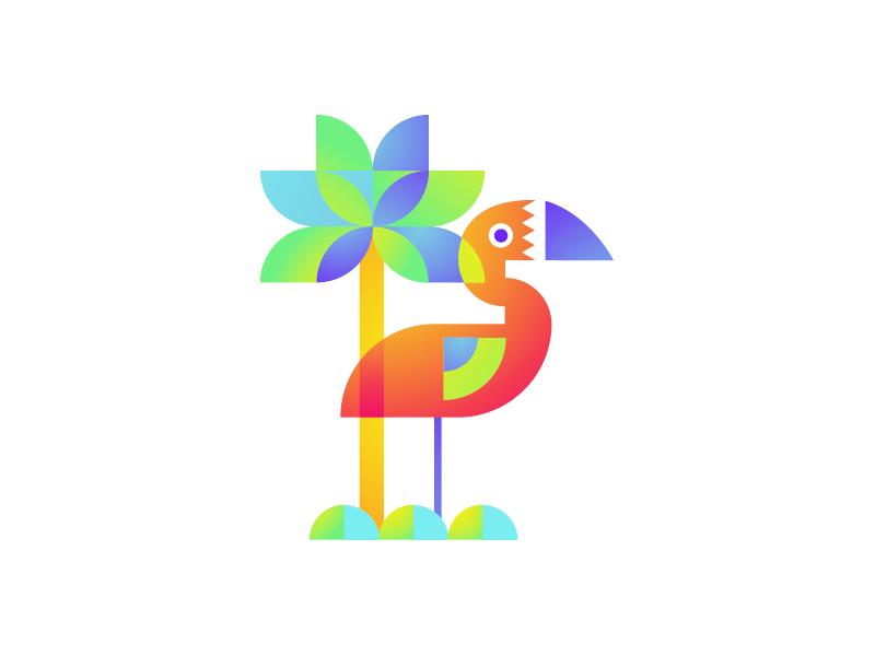 Flamingo flat clean flamingo tropic bird summer color illustration