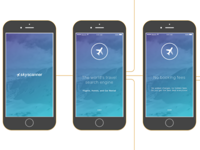 Application Flow mock up application flow magic mirror skyscanner redesign ios onboarding icons gradients ux ui