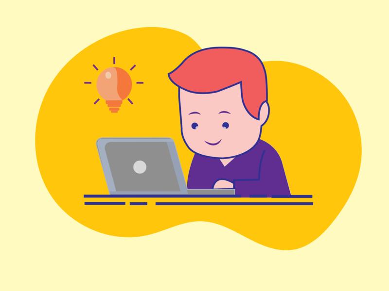 Man Sitting Working On Laptop dribbble lollypop freshworks zoho zeta drawing ui animation after effect gif icon user interface design vector designer  type designer graphic  design design adobe illustraor illustration