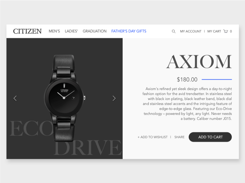 Citizen product page re-design grid shop ux ui interface fashion concept e-commerce shopping watch re-design product page
