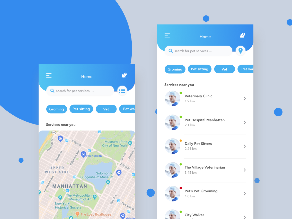 Pet Service App list view map design map view map ui maps tabs searchbox search bar mockup clean  creative creative pet design pet care pet business pet app wireframe design mock up clean app design clean app clean