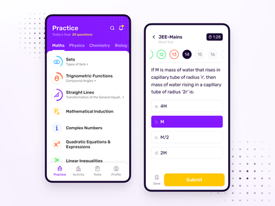 IdeaBoard | Education App Redesign iconography icon figma pattern colorful physics maths modern minimal flat study test exam concept education ux ui app