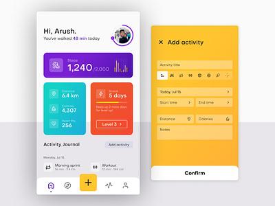 FitMO | Fitness App flat activity tracker minimal modern fitness app ui design adobe xd