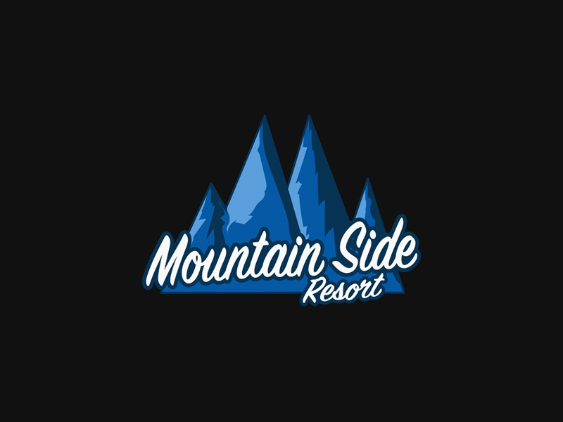 Mountain Side Resort calligraphy black gray blue logo resort side mountain