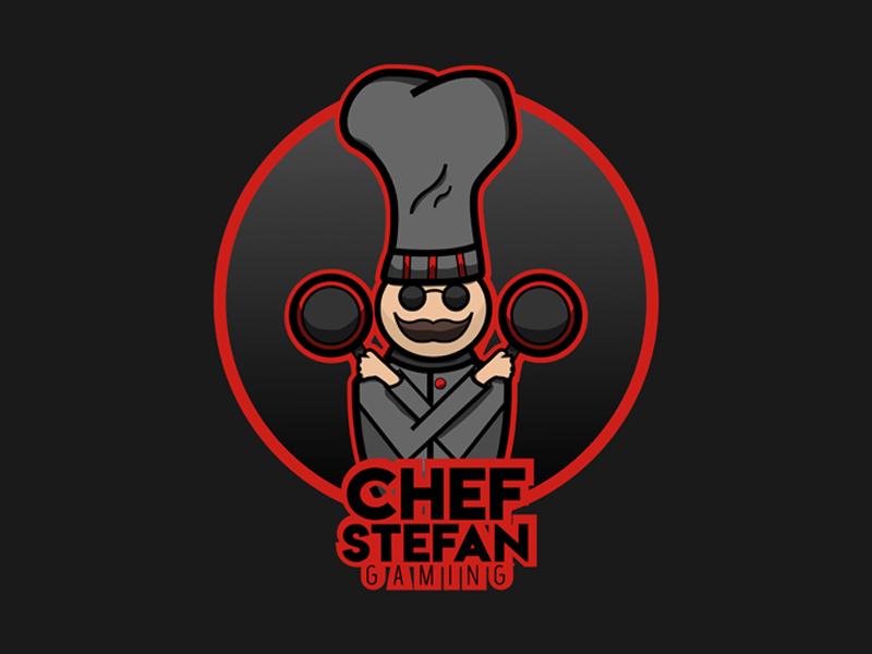 Gaming Logo youtube mascot design chef red logo gaming