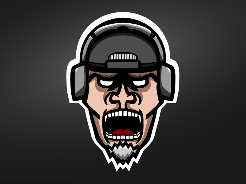 BubbaChubbs Mascot Logo headphones goatee gaming mad man logo mascot