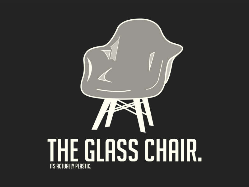 The Glass Chair vector design illustration logo quickdesign trash white black chair glass