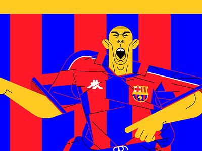 Ronaldo Barca design vector football soccer illustration ronaldo barcelona