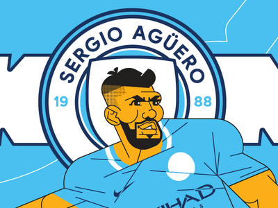 Sergio Aguero vector illustration portrait football soccer manchester city aguero