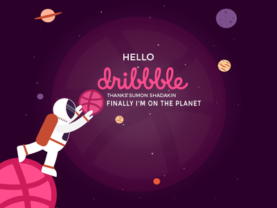 Hello Dribbble illustration astronaut rocket space planet first shot dribbble hello