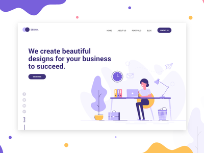 Design Agency Website Landing Page ahadcreation typography illustration minimaldesign clean design userinterfacedesign hero banner ui  ux landing design header illustration header design