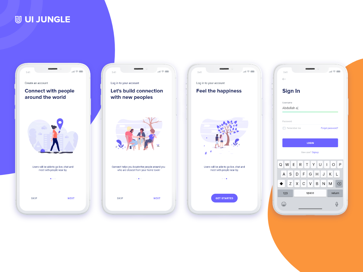 Onboarding screen Freebie android user experience user interface ux ui app design login screen on boarding adobe xd ios