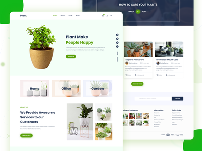Plant Landing Page Design Freebie creative  design nature green ux ui userinterfacedesign design landing page shopify ecommerce plant adobe xd