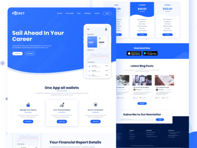 Pocket App Landing Page Freebie