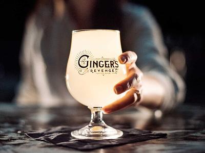 Ginger's Revenge Craft Brewery in Asheville, NC beer glass 1930s deco vintage cocktail bar logo design north carolina asheville brewing ginger brewrey beer branding beer