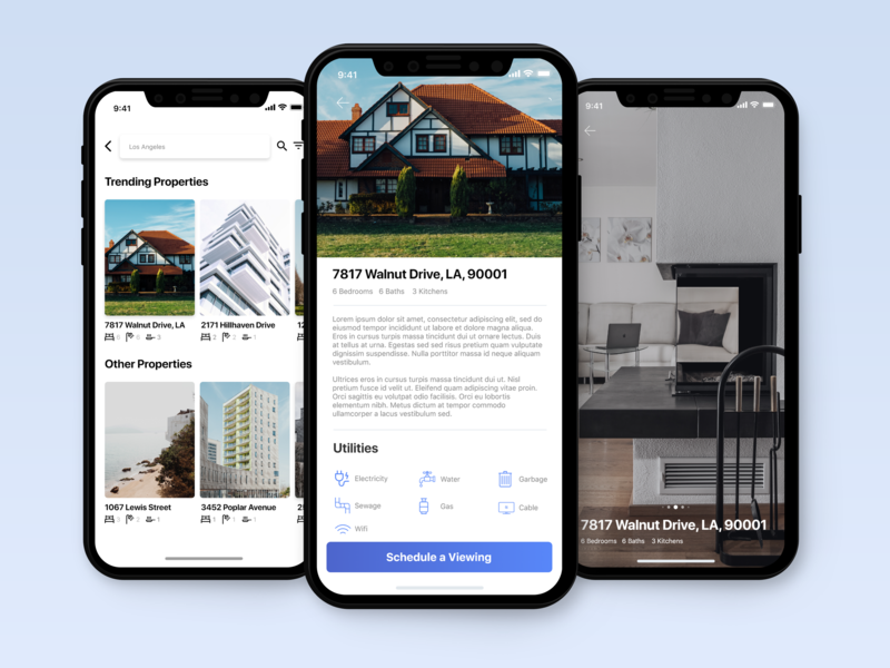 House Hunting App Concept ui ui design typography interaction ux ui design ux location apartment booking minimal flat design iphone x iphone ios travel app airbnb travel home app home
