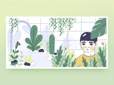 Botanical Boy debut ui plants colors editorial illustration