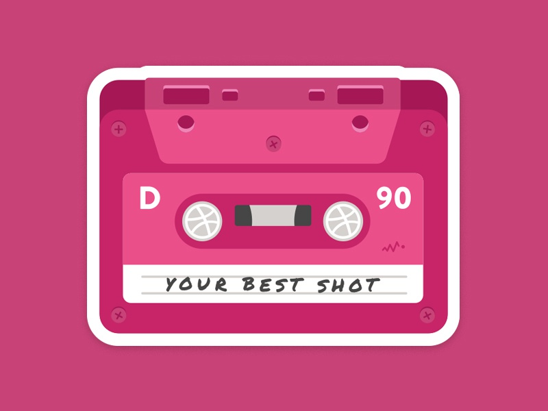 Your Best Shot tape playoff label nostalgia music icon retro sticker mule dribbble pink sticker cassette