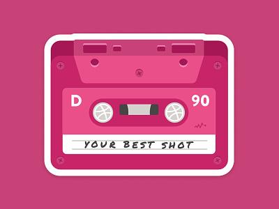 Your Best Shot tape playoff label nostalgia music icon retro sticker mule dribbble pink sticker cassette