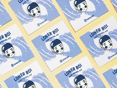 Loner Boi Enamel Pins product face portrait hands packaging branding patches pins enamel icon design photography