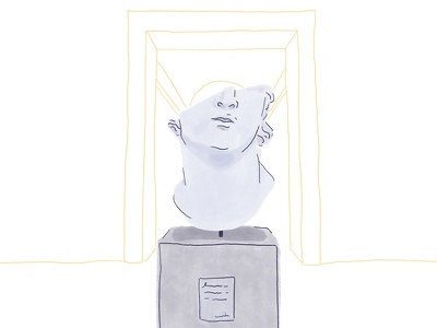Head of a Youth lines nose portrait mouth feature interior museum sculpture face illustration