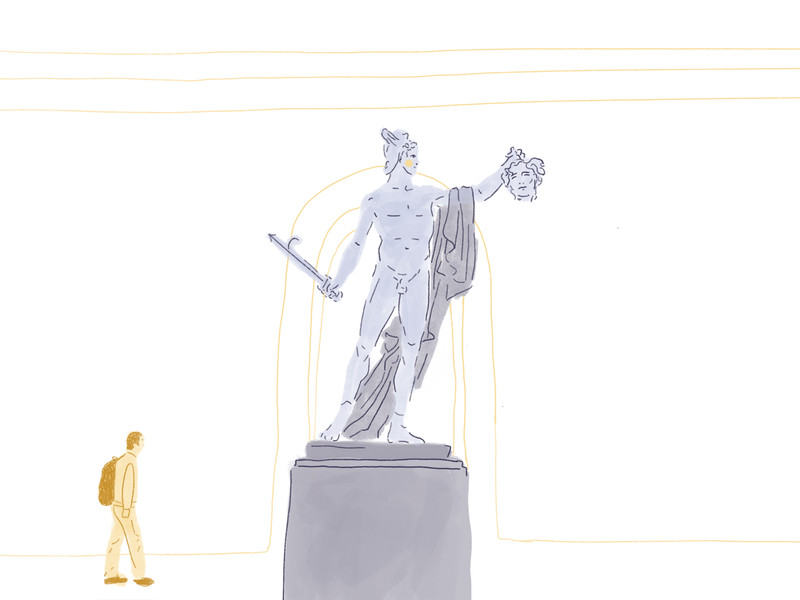 Perseus & Medusa drawing illo interior sculpture portrait hands figure face character icon ui editorial illustration