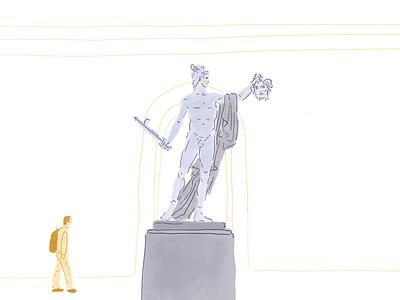 Perseus & Medusa drawing illo interior sculpture portrait hands figure face character icon ui editorial illustration