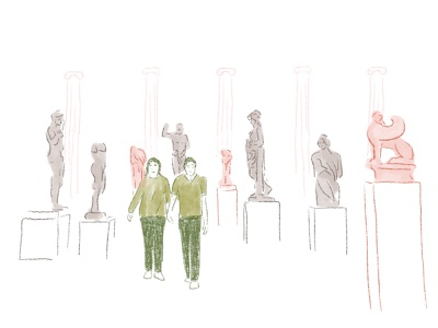 Living Sculptures figure museum interior ui drawing editorial sketches illustration sculpture