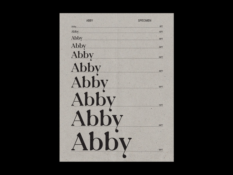 Abby Display character editorial specimen calligraphy font custom font design typeface letter type typography