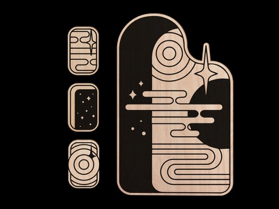 Encountered branding logo design vector black material cut lines ui stars space minimal illustration icon screenprint print