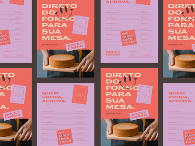 Doce no Forno poster cake candy colors identity branding doce no forno doce brand sweet