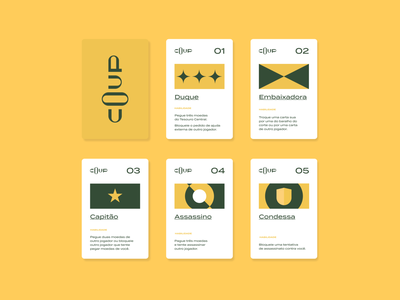 Coup Card Game minimalist game art game design jogo brand identity coup redesign card game game card