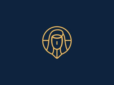 Santa Terezinha gps line lineart logotype church santa igreja católico brand icon catholic
