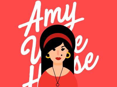 Amy Winehouse flat design winehouse illustraion singer ilustração ilustrator minimalist drawn flat amy wine amy winehouse