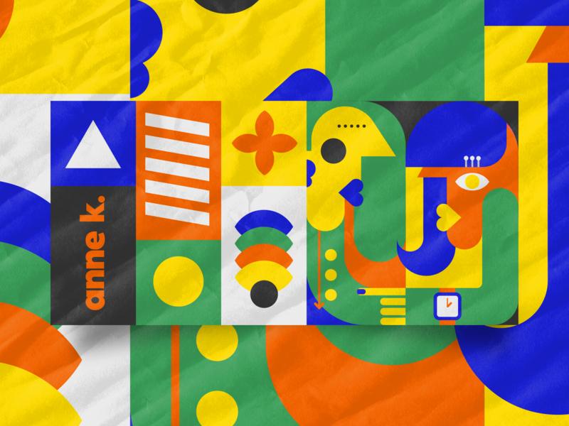 Anne K - escritório criativo illustration abstract art art forms abstract drawn ludic é olhando que se vê happy colors visual identity brand annek