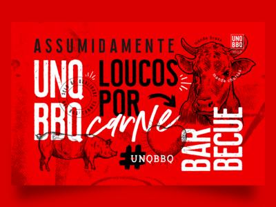 UNQ BBQ - Unique Barbecue animals strong visual  identity brand brazil bbq red churrasco carne meat festival barbecue unique unqbbq