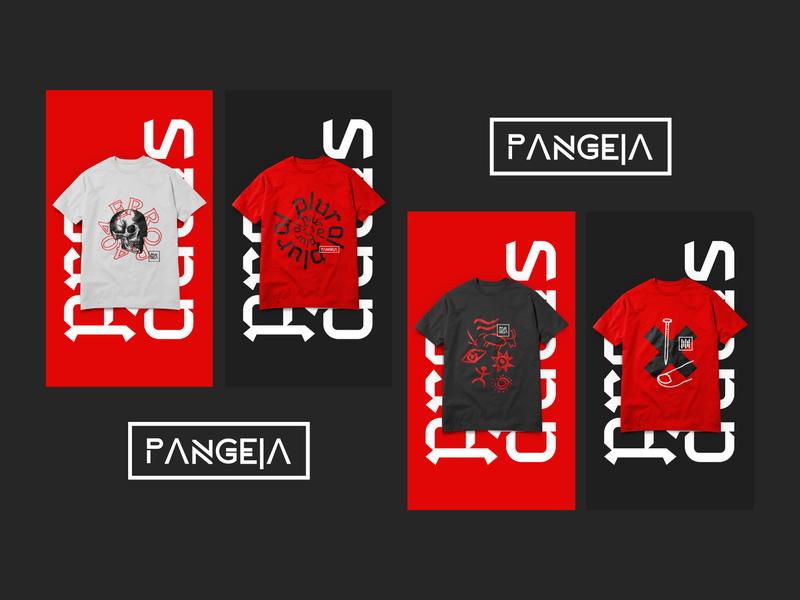 Pangeia T-shirts underground black red drawn illustrator logo branding brand cinema produtora film movie pangeia camisa shirts tshirts