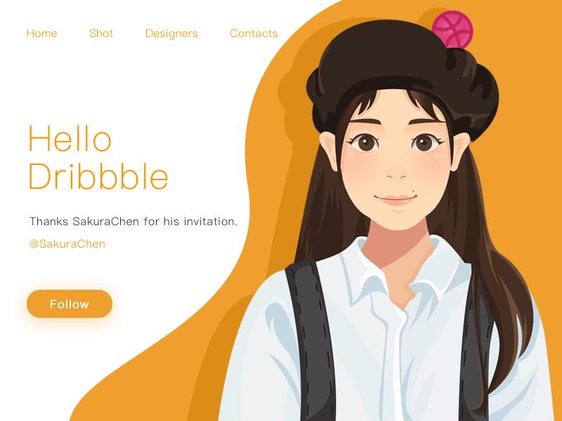 Hello,Dribbble~ illustration,debut,ps,girl