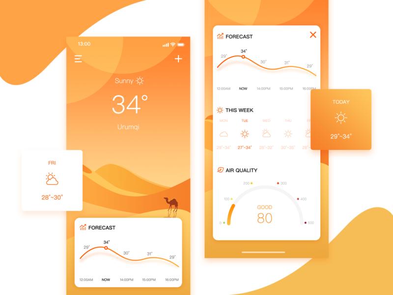 UI100Day-04 Weather illustration illustrator ui 100 ui  ux ui weather forecast sunny camel desert weather yellow orange app