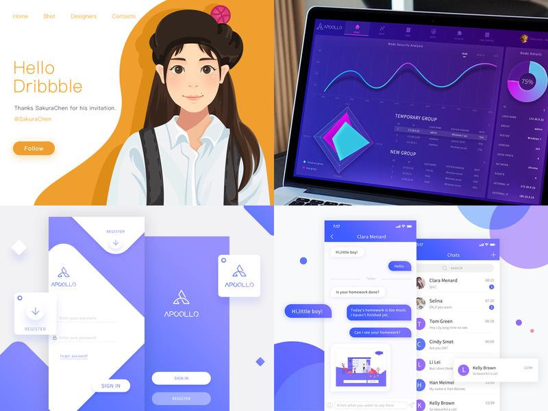 2018 - Purple year logo chart uiux uidesign girl design system purple illustration visualization ui 100 graphic app ui