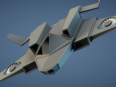 Spacecraft Render c4d low poly