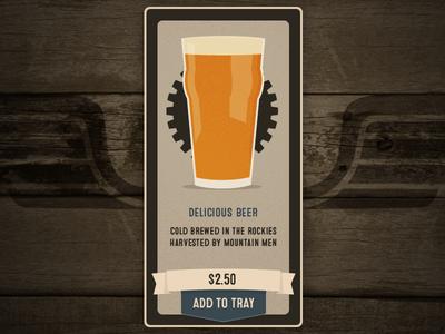 Crafted App - Add Item beer illustration wood ui