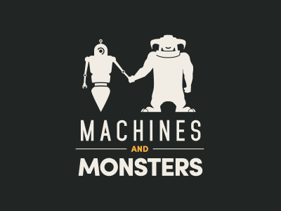 Machines and Monsters robot logo illustration branding monsters machines machines and monsters