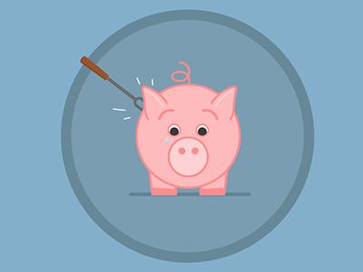 Poked Pig pig poker porker fork illustration mograph mentor illustrator