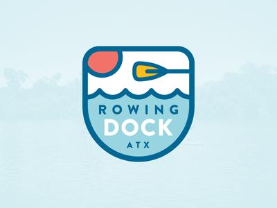 Rowing Dock branding identity badge logo canoe kayak water dock lake paddle
