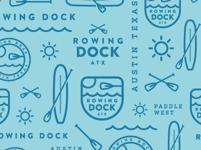 Rowing Dock pattern branding pattern canoe sup water lake paddle sun